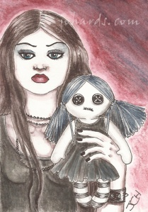 Gothic doll ACEO card