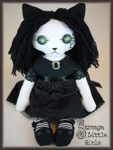 Gothic cat art doll freyja